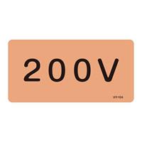 JIS配管識別明示ステッカー 電気関係 (ヨコ) 200V 10枚1組 サイズ: (L) 60×120mm (381104)