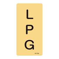 JIS配管識別明示ステッカー ガス関係 (タテ) LPG 10枚1組 サイズ: (M) 80×40mm (385722)