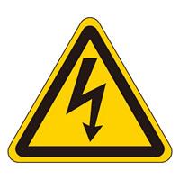 JIS安全標識 (警告) 危険マークのみ 10枚1組 ステッカー サイズ:100mm三角 (391200)