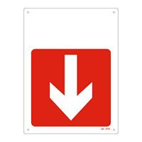 JIS安全標識 300×225 下矢印付 表記:赤地・ (下矢印) のみ (392416)