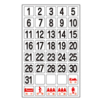 ホワイトボード用マグネシート マグウィークリー 内容:数字 (316012)