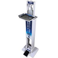 足踏み式アルコールディスペンサー2 ステンレス受け皿付タイプ