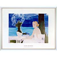 アートポスター 「シャンタルと海の前のブーケ」 A・ブラジリエ作