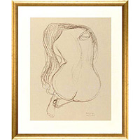 アートポスター 「シーテッド ヌード ウーマン」 グスタフ・クリムト作