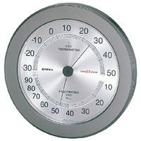 スーパーEX高品質温度計・湿度計 壁掛用・薄型 直径(約)230mm メタリックグレー (EX-2737)