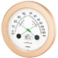 スーパーEX高品質温度計・湿度計 壁掛用・薄型 直径(約)230mm シャンパンゴールド (EX-2738)