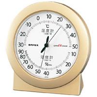スーパーEX高品質温度計・湿度計 卓上用 サイズ:(約)120×112×40mm シャンパンゴールド (EX-2768)