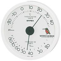 ワンダーワーカー温度計・湿度計 壁掛け・約120×27mm ホワイト (TM-486)