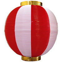 【尺丸】ストライプカラーポリちょうちん (8872) 赤白