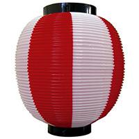 【九寸丸】ストライプカラーポリちょうちん (8877) 赤白