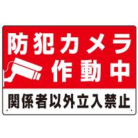 防犯カメラ作動中 関係者以外立入禁止 A オリジナル プレート看板 W450×H300 エコユニボード