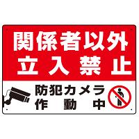 防犯カメラ作動中 関係者以外立入禁止 B オリジナル プレート看板 W450×H300 エコユニボード