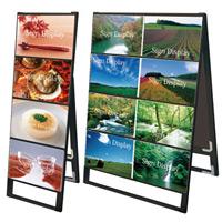 ブラック A3サイズ カードケーススタンド看板 規格:A3横×4枚 片面 (BCCSK-A3Y4K)