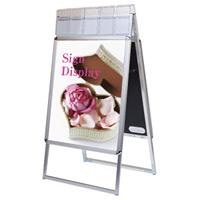 ポスターグリップスタンド看板パンフレットケース付(屋外用) A1サイズ 規格:両面 シルバー (PGSKP-A1RS-G)