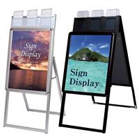 ポスターグリップスタンド看板パンフレットケース付(屋外用) A2サイズ 規格:片面 シルバー (PGSKP-A2KS-G)