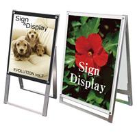 ポスター用スタンド看板セパレートポケット 屋内用 規格:A2 片面 ブラック (PSSKSP-A2KB)