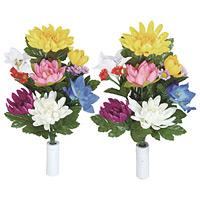 ご仏壇お供花 仏花菊2個セット (造花) 高さ39cm 光触媒 (110A25)