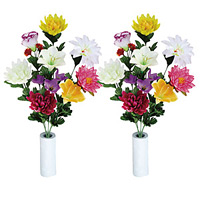 ご仏壇お供花 仏花ゆり2個セット (造花) 高さ50cm 光触媒 (93A30)