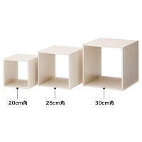 木製ディスプレイボックス 20cm角 Wウッド