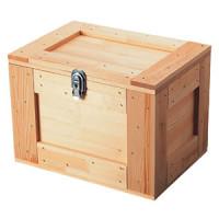鍵付収納ボックス ライトオーク(茶)