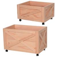 木製ボックス キャスター付 小