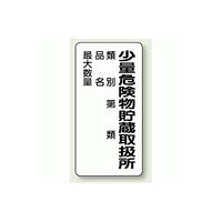 縦型標識 少量危険物貯蔵取扱所 (類別/品名/最大数量) 鉄板 600×300 (319-08)