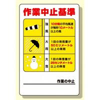 玉掛関係標識 作業中止基準 (326-12)