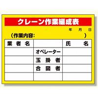 建設機械関係標識 クレーン作業編成表 (326-15)