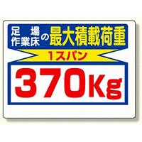 制限荷重標識 足場の作業床の最大積載荷重 (329-08)