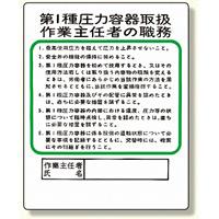 作業主任者職務板 第1種圧力容器取扱 (356-12)