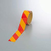 反射トラテープ (セパ付) 黄/赤 45mm幅×10m巻 (374-17)