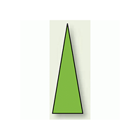 ゲージマーカー 三角シール 蛍光緑 15×5 1シート100枚入 (446-84)