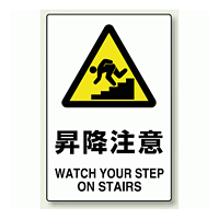 JIS規格安全標識 ステッカー 450×300 昇降注意 (802-472)