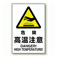 JIS規格安全標識 ステッカー 450×300 危険高温注意 (802-482)