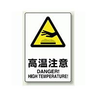 JIS規格安全標識 ステッカー 高温注意 300×200 (803-432)
