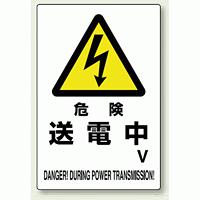 危険 送電中 エコユニボード 450×300 (804-28A)