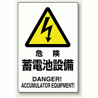 危険 蓄電池施設 鉄板 普通山 450×300 (804-97A)
