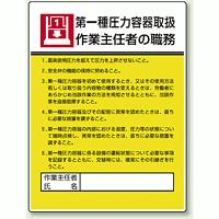 第一種圧力容器取扱 「作業主任者職務表示板」 (808-07)