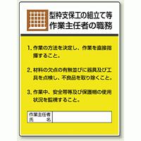 型枠支保工の組立て等 「作業主任者職務表示板」 (808-19)
