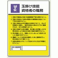玉掛け技能 「作業主任者職務表示板」 (808-25)