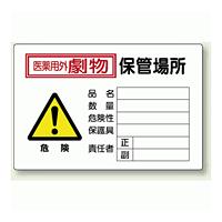 医薬用外劇物 保管場所 鉄板 (普通山) 300×450 (814-69A)
