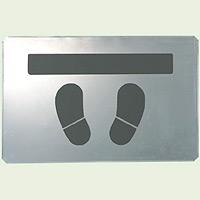 吹付け用プレート 足跡とまれ 亜鉛メッキ鋼板 385×600 (819-33A)