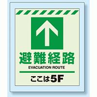 床設置用蓄光・避難口誘導標識 避難経路 5F 360×300 (824-205)