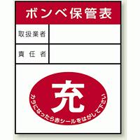 ガスボンベステッカー ボンベ保管表 充 100×80 10枚1組 (827-25)