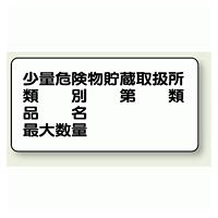 横型標識 少量危険物貯蔵取扱所 (名入れ部有) 鉄板 300×600 (828-53)