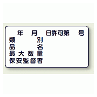 横型標識 年月日許可第 号 種別 等 鉄板 300×600 (828-61)