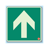 床設置用蓄光・避難口誘導標識 矢印のみ 300×300 (829-11A)