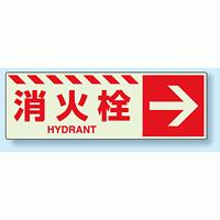 消火栓標識 右矢印 蓄光ステッカー 120×360 (831-19)