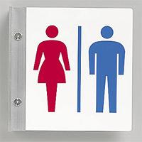 トイレ突出し表示 男女共用 200×200 (842-58)