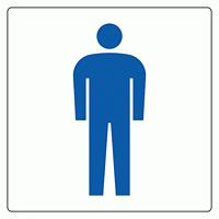 トイレ表示アクリル板 大150mm角 男子 (842-62)